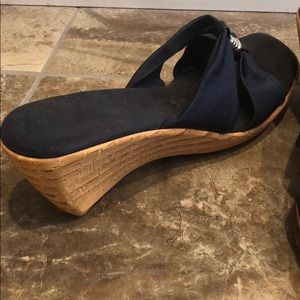 Shoes - Navy Blue Wedge Sandal